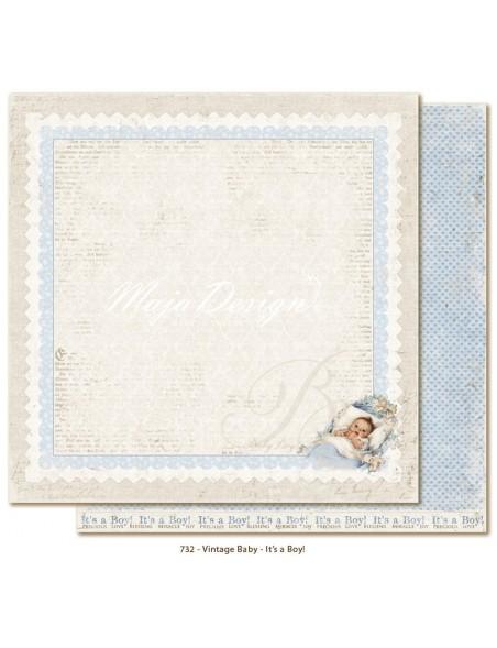 "Maja Design Vintage Baby Cardstock de doble cara 12""x12"", It´s a boy"