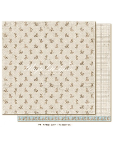 "Maja Design Vintage Baby Cardstock de doble cara 12""x12"", First Teddy Bear"
