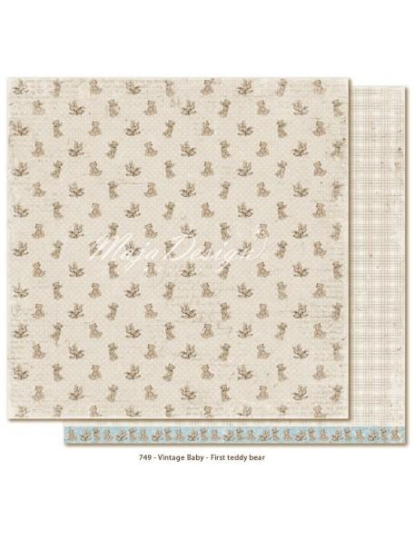 "Maja Design Vintage Baby Cardstock de doble cara 12""x12"", First Teddy Bear"
