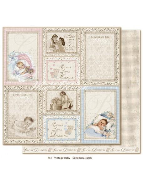 "Maja Design Vintage Baby Cardstock de doble cara 12""x12"", Ephemera Cards"