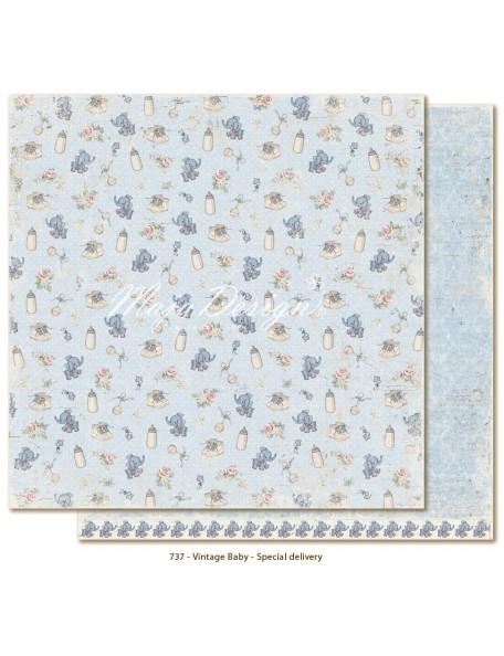 """Maja Design Vintage Baby Cardstock de doble cara 12""""x12"""", Special Delivery"""