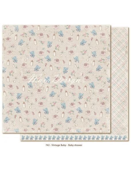 "Maja Design Vintage Baby Cardstock de doble cara 12""x12"", Baby Shower"