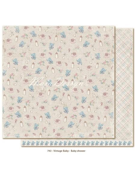 "Maja Design - Vintage Baby Baby Shower Cardstock de doble cara 12""x12"""