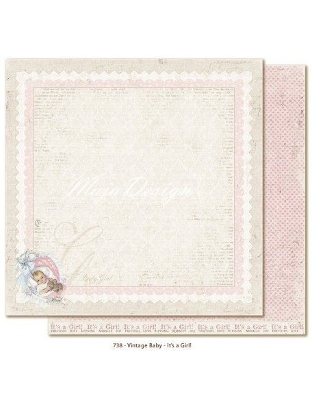 "Maja Design Vintage Baby Cardstock de doble cara 12""x12"", It´s a girl DESCATALOGADO"