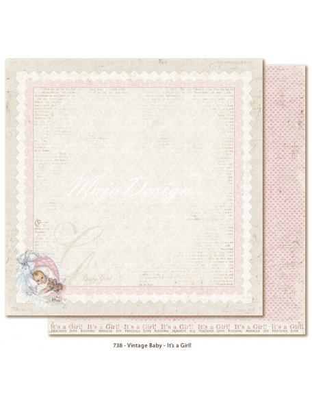 "Maja Design Vintage Baby Cardstock de doble cara 12""x12"", It´s a girl"