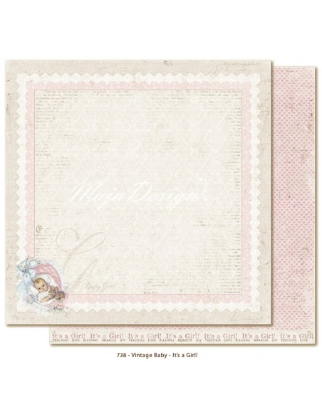 """Maja Design Vintage Baby Cardstock de doble cara 12""""x12"""", It´s a girl DESCATALOGADO"""