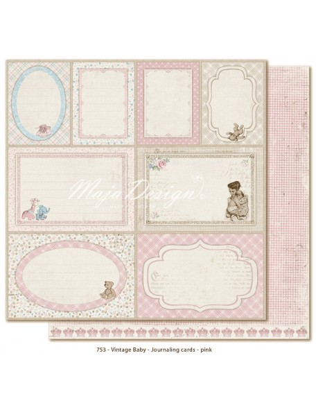 "Maja Design Vintage Baby Cardstock de doble cara 12""x12"", Journaling Cards Pink"