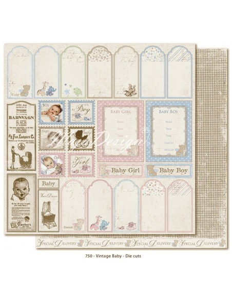 "Maja Design Vintage Baby Cardstock de doble cara 12""x12"", Die Cuts"