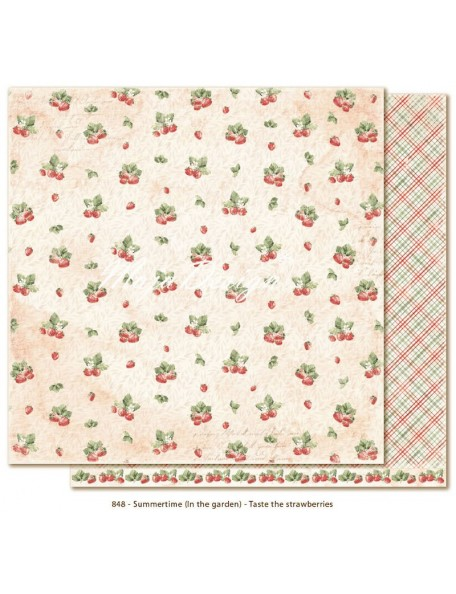 "Maja Design Summertime In the Garden Cardstock de doble cara 12""x12"", Taste the Strawberries"