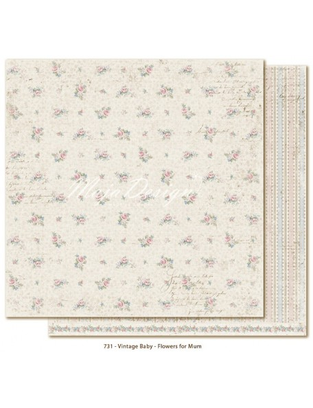 "Maja Design Vintage Baby Cardstock de doble cara 12""x12"", Flowers for Mum"