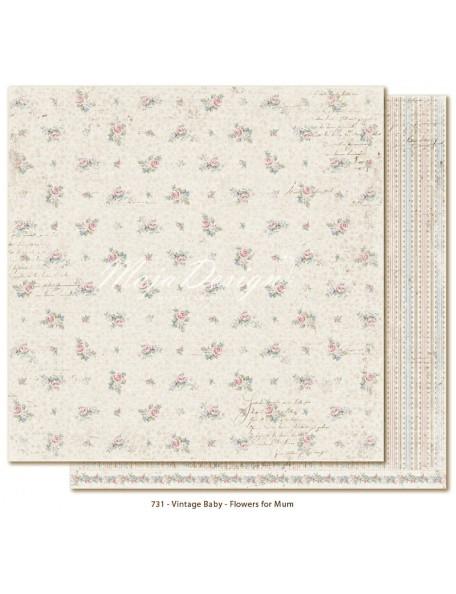"Maja Design Vintage Baby Cardstock de doble cara 12""x12"", Flowers for Mum"