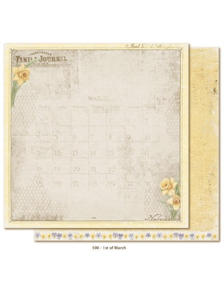 "Maja Design - Vintage Spring Basics Cardstock de doble cara 12""x12"", 1th of March"