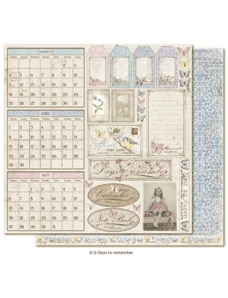 """Maja Design - Vintage Spring Basics Cardstock de doble cara 12""""x12"""", Days to remember"""