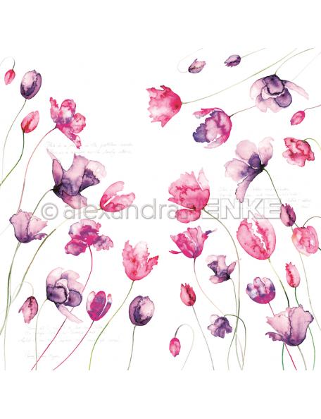 Alexandra Renke Cardstock de una cara 30,5x30,5 cm, Variedad Tulipanes Violeta Rosa/Viele Tulpen violet pink