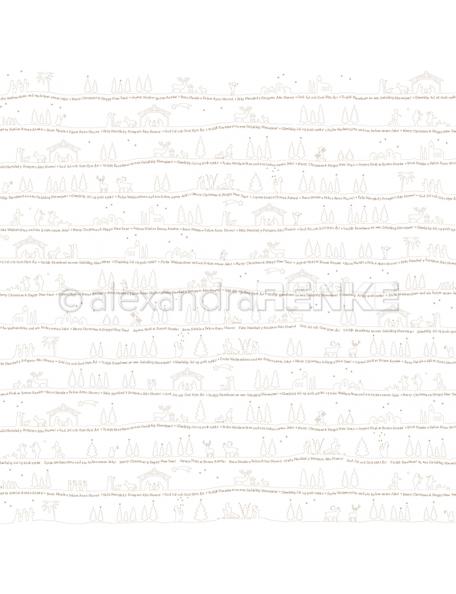 Alexandra Renke Cardstock de una cara 30,5x30,5 cm, Paisaje Dorado Navideño/Goldene Weihnachtslandschaft