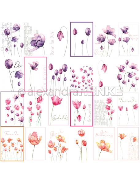 Alexandra Renke Cardstock de una cara 30,5x30,5 cm, Tarjetas Tulipanes/Kärtchenbogen Tulpen