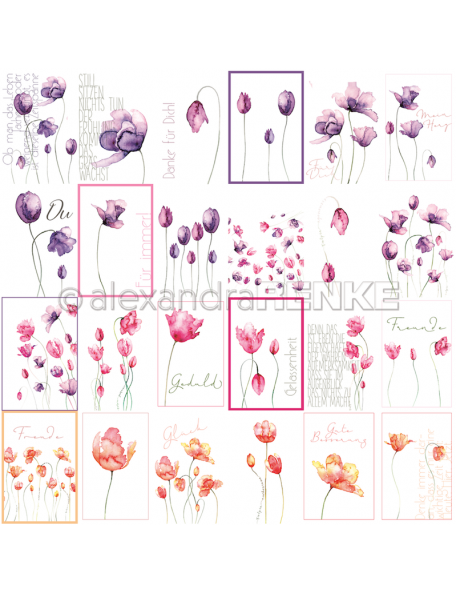 Alexandra Renke Cardstock de una cara 30,5x30,5 cm, Tulipanes/Kärtchenbogen Tulpen