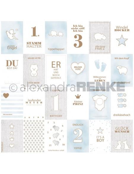 Alexandra Renke Cardstock de una cara 30,5x30,5 cm, Tarjetas Azul Bebe/Kärtchenbogen blau Baby