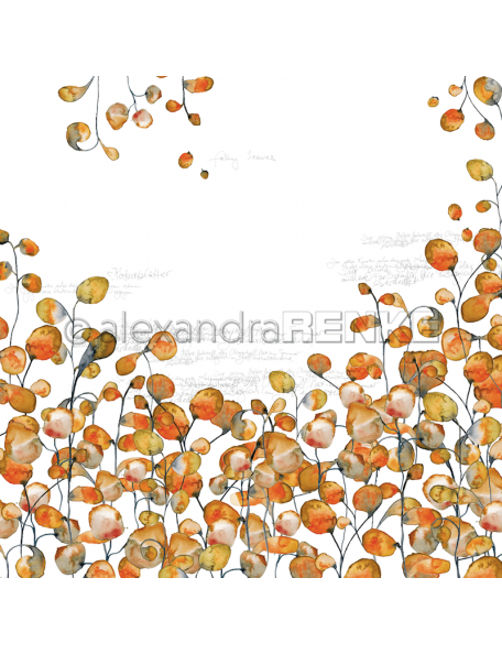 Alexandra Renke Cardstock de una cara 30,5x30,5 cm, Hojas Naranja/Blätter Orange Typo