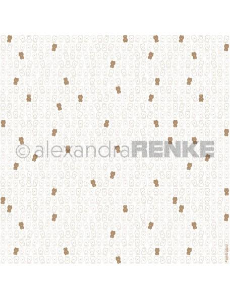 Alexandra Renke Cardstock de una cara 30,5x30,5 cm, Peluche Blanco Oro/Teddybär weiß,gold