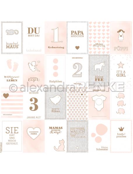 Alexandra Renke Cardstock de una cara 30,5x30,5 cm, Tarjetas Rosa Niña/Kärtchenbogen pink Mädchen