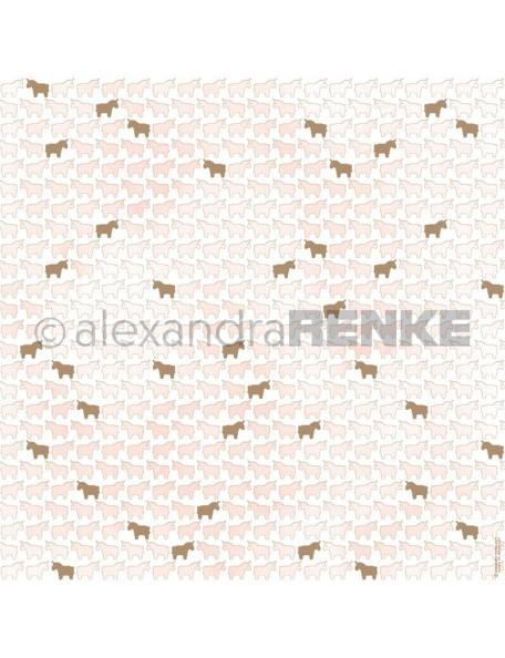 Alexandra Renke Cardstock de una cara 30,5x30,5 cm, Unicornios Rosa Dorados/Einhörner pink, gold