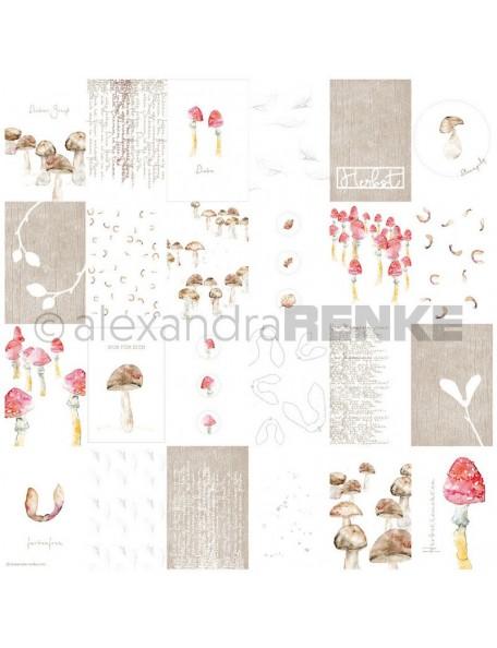 Alexandra Renke Cardstock de una cara 30,5x30,5 cm, Tarjetas Setas/Kärtchenbogen Pilze