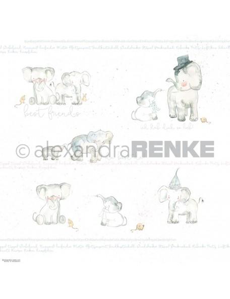 Alexandra Renke Cardstock de una cara 30,5x30,5 cm, Elefanten