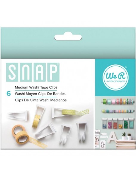 We R Memory Snap Storage Washi Tape Clips 6/Pkg Medium