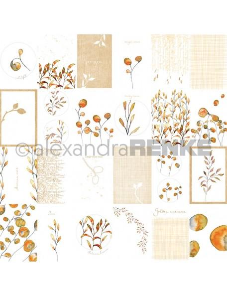 Alexandra Renke Cardstock de una cara 30,5x30,5 cm, Tarjetas Hojas/Kärtchenbogen Blätter
