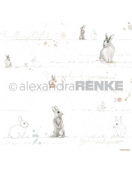 Alexandra Renke Cardstock de una cara 30,5x30,5 cm, Conejito Dorado Acuarela/Aquarell Häschen gold