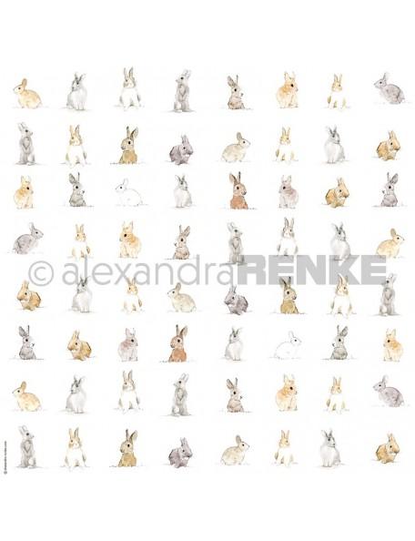 Alexandra Renke Cardstock de una cara 30,5x30,5 cm, Mucho Conejitos Pequeños/Viele kleine Häschen