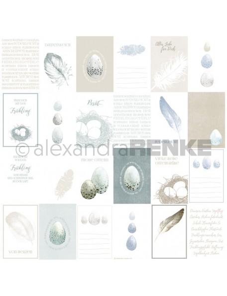Alexandra Renke Cardstock de una cara 30,5x30,5 cm, Tarjetas Huevos y Plumas/Kärtchenbogen Eier und Federn
