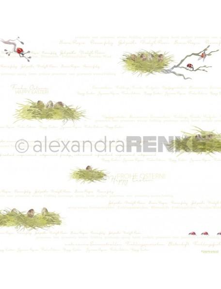 Alexandra Renke Cardstock de una cara 30,5x30,5 cm, Cesta de Pascua Typo/Osternester Typo