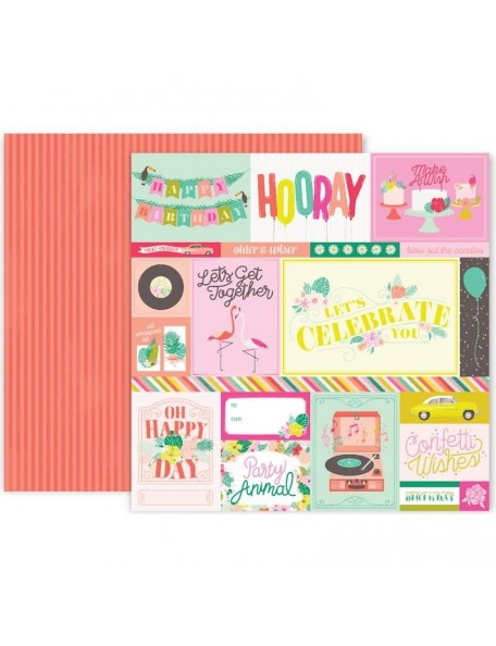 "Pink Paislee Confetti Wishes Cardstock de doble cara 12""X12"", No. 1"