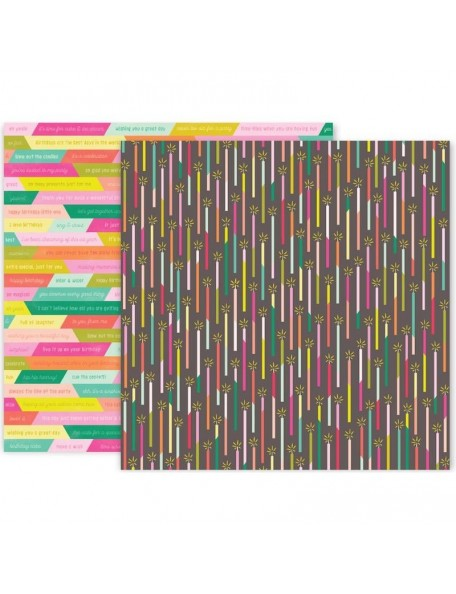 """Pink Paislee Confetti Wishes Cardstock de doble cara 12""""X12"""", No. 1"""