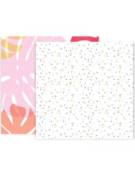 """Pink Paislee Confetti Wishes Cardstock de doble cara 12""""X12"""", No. 3"""