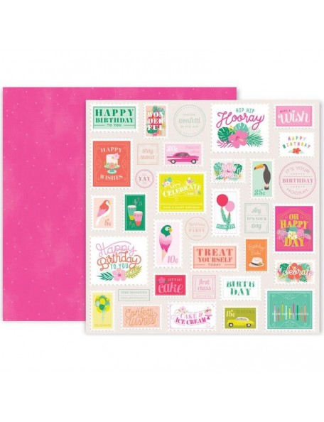 """Pink Paislee Confetti Wishes Cardstock de doble cara 12""""X12"""", No. 6"""