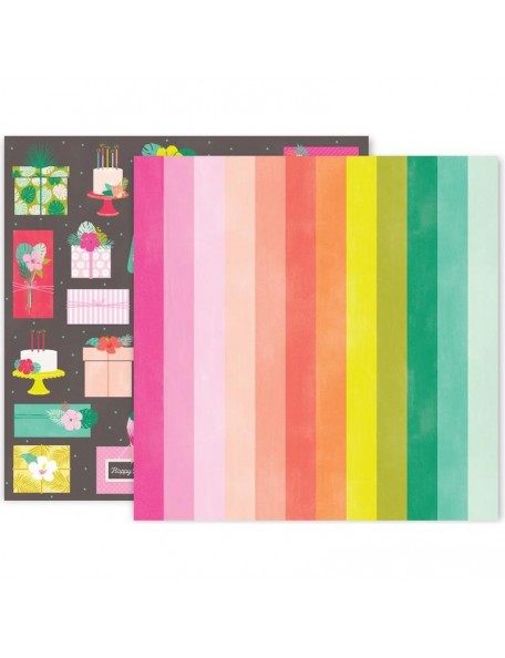 "Pink Paislee Confetti Wishes Cardstock de doble cara 12""X12"", No. 7"