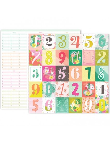 """Pink Paislee Confetti Wishes Cardstock de doble cara 12""""X12"""", No. 10"""