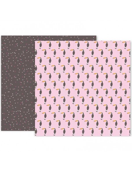 "Pink Paislee Confetti Wishes Cardstock de doble cara 12""X12"", No. 11"