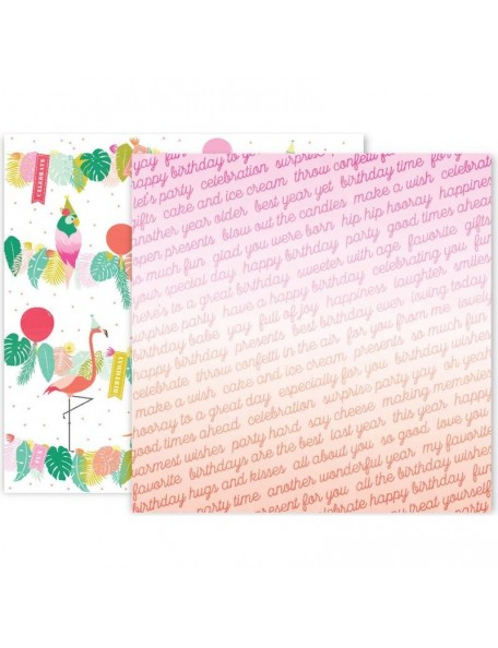 "Pink Paislee Confetti Wishes Cardstock de doble cara 12""X12"", No. 12"