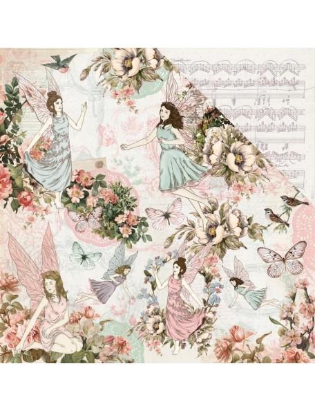 """Kaisercraft Fairy Garden Cardstock de doble cara 12""""X12"""" Fairy Dance"""