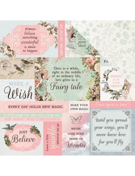 """Kaisercraft Fairy Garden Cardstock de doble cara 12""""X12"""" Wishes"""