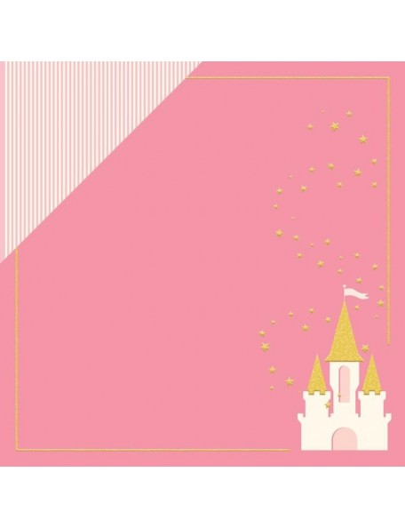 "My Minds Eye Penelope Cardstock de doble cara 12""X12"" Dreams Come True W/Gold Glitter"