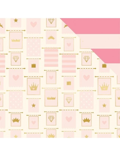 "My Minds Eye Penelope Cardstock de doble cara 12""X12"" Banners W/Gold Foil"