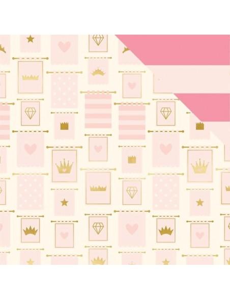"My Minds Eye Penelope Cardstock de doble cara 12""X12"" Banners W/Gold Foil"