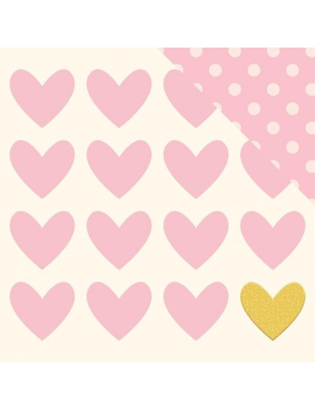 "My Minds Eye Penelope Cardstock de doble cara 12""X12"" Lovely W/Gold Glitter"