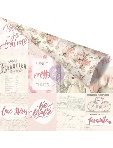 "Prima Marketing Love Story Pink Foiled Cardstock de doble cara 12""X12"", Notes That Last Forever"