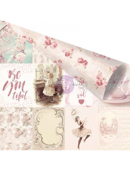 "Prima Marketing Love Story Pink Foiled Cardstock de doble cara 12""X12"", My Favorite Moments With You"